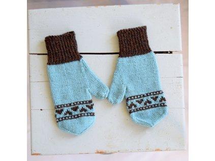 Dámské rukavice -  světle modrá/hnědá
