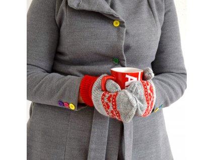 Dámské rukavice -  světle šedá/červená