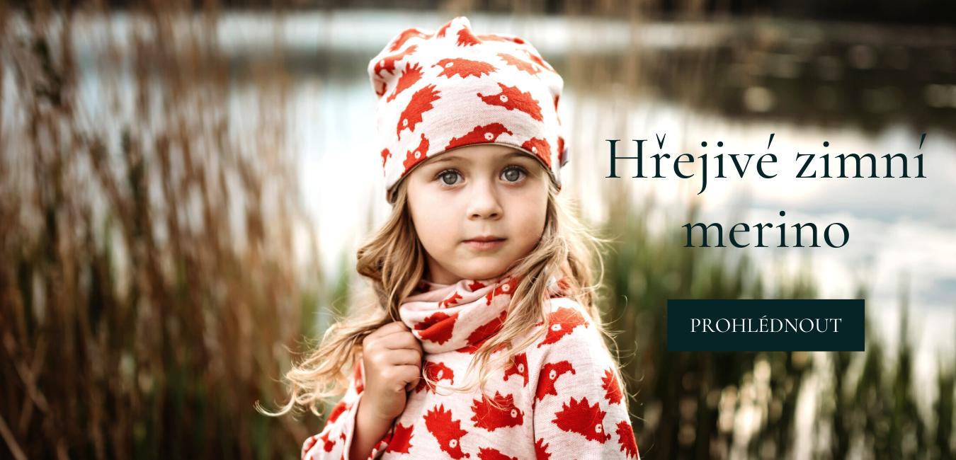 merino čepice nákrčník svetřík pro děti na zimu