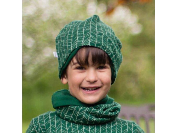 Merino čepice dvouvrstvá: JEHLIČÍ NA TMAVĚ ZELENÉ