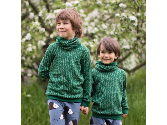 Merino tričko/svetřík: JEHLIČÍ NA TMAVĚ ZELENÉ