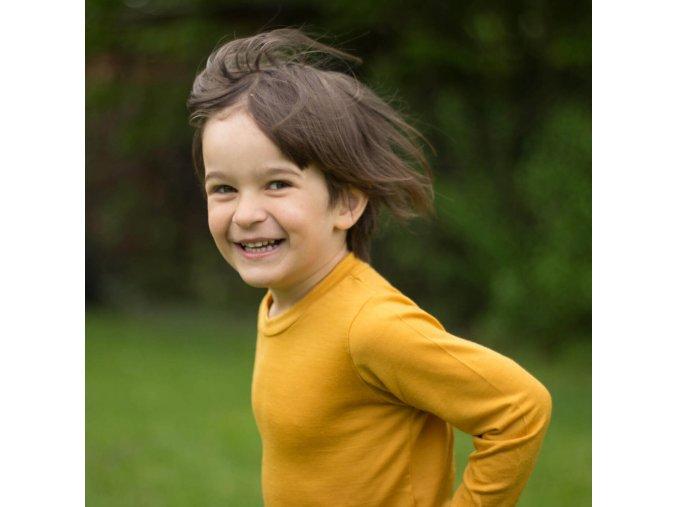 Merino tričko měsíčkově žlutá (dlouhý rukáv)