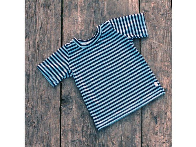 Proužkované tričko z letního merina: námořnická modrá/nebesky modrá