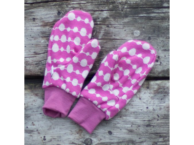 Merino rukavice: KORÁLKY NA RŮŽOVÉ