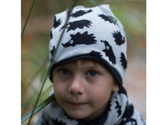 Merino čepice dvouvrstvá: JEŽCI ČERNÁ