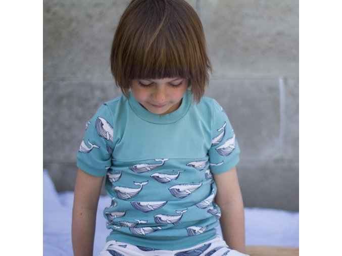 Tričko velryby biobavlna: tyrkys