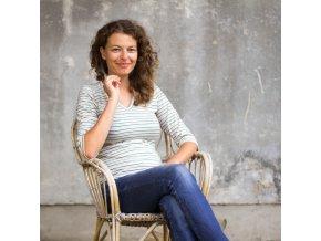 Elegantní tričko Linnea ze 100% merino vlny - trojbarevný proužek (tříčtvrteční rukáv)