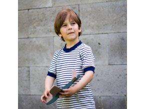 Tričko merino vlna/hedvábí: námořnický proužek s modrým lemem