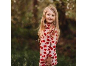 Merino šatičky Maja - ježci červená