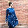Šaty Luna s lodičkovým výstřihem a řasenou sukní - BIOBAVLNA