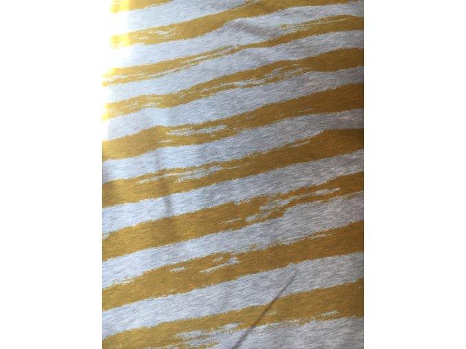 Pruhy hořčicové, 61 cm, teplakovina nepočesaná