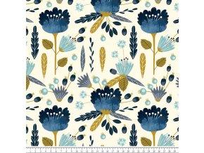 Modré květy na krémové