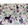 Vánoce - Modří jeleni 43 cm, kočárkovina