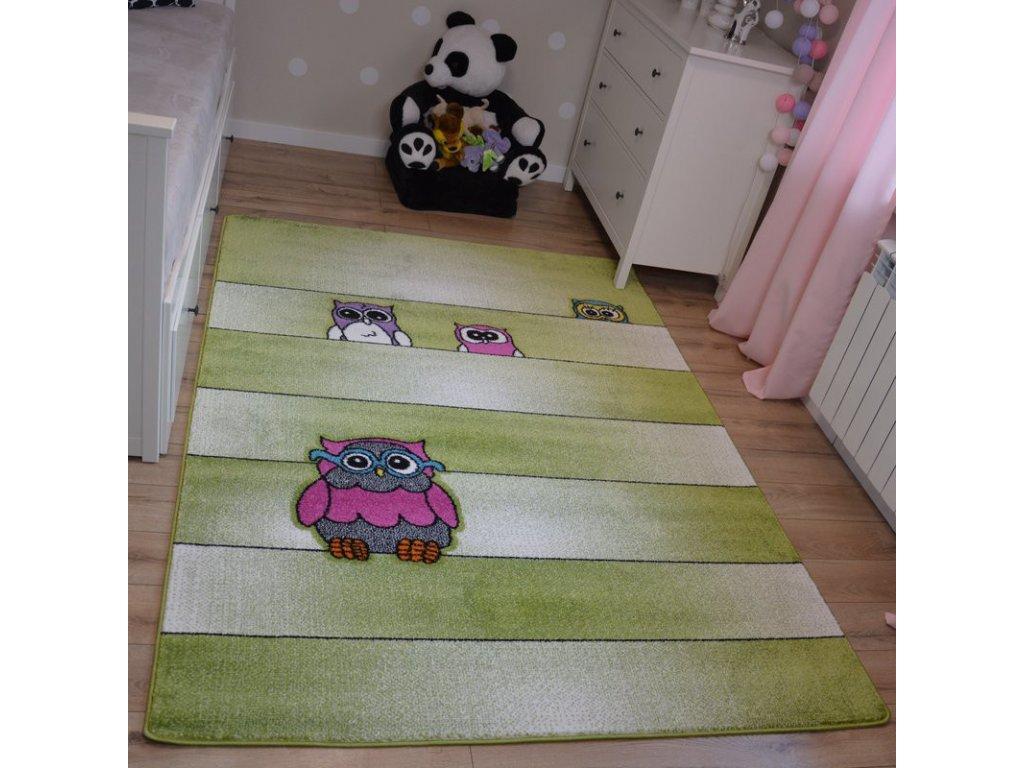 Dětský kusový koberec KIDS C412 Sovy zelený