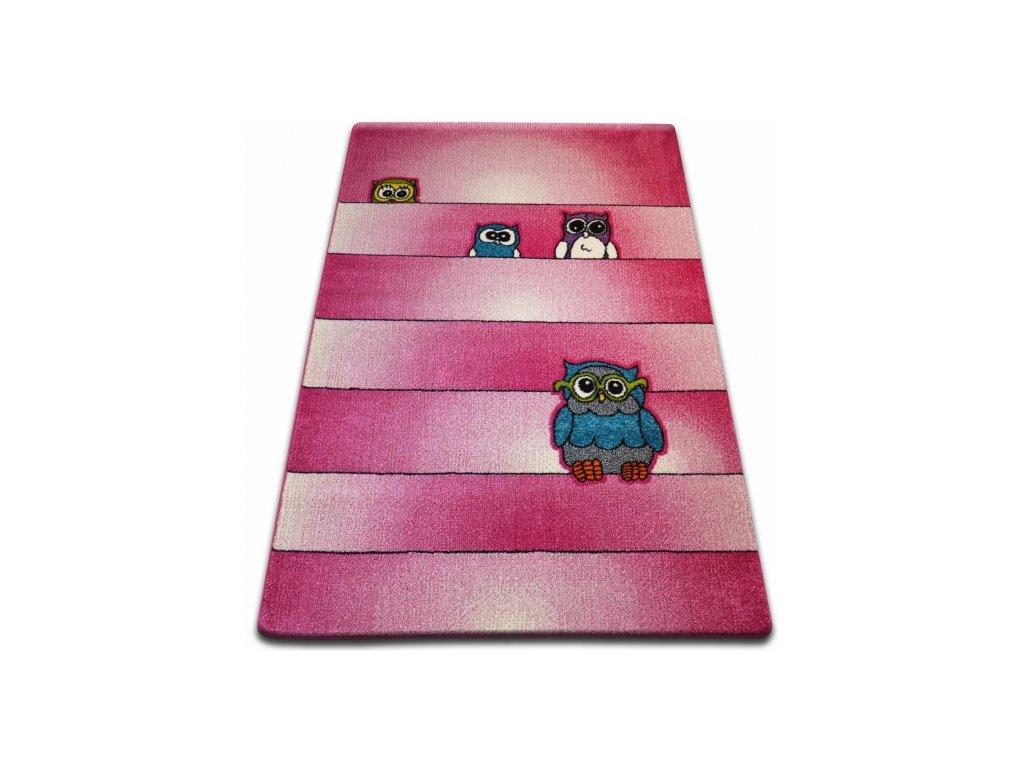 Dětský kusový koberec KIDS C412 Sovy růžový