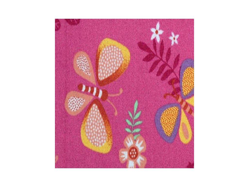 Kusový dětský koberec Papillon růžový, plný motýlků.