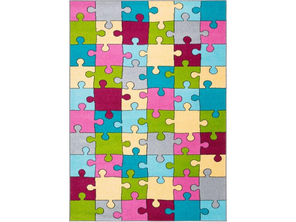 Dětský kusový koberec Agnella Funky Top Super Puzzle Medový