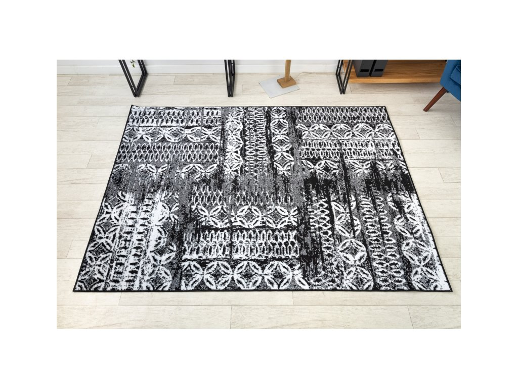 Kusový koberec RETRO HE191 černý / krémový