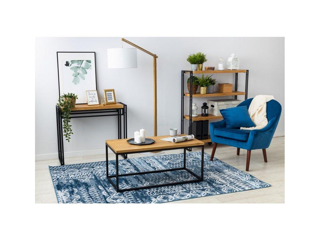 Kusový koberec RETRO HE191 modrý / krémový