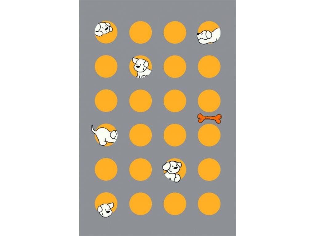 Dětský kusový koberec Dywilan Free Pupil 1 Pejsek šedý
