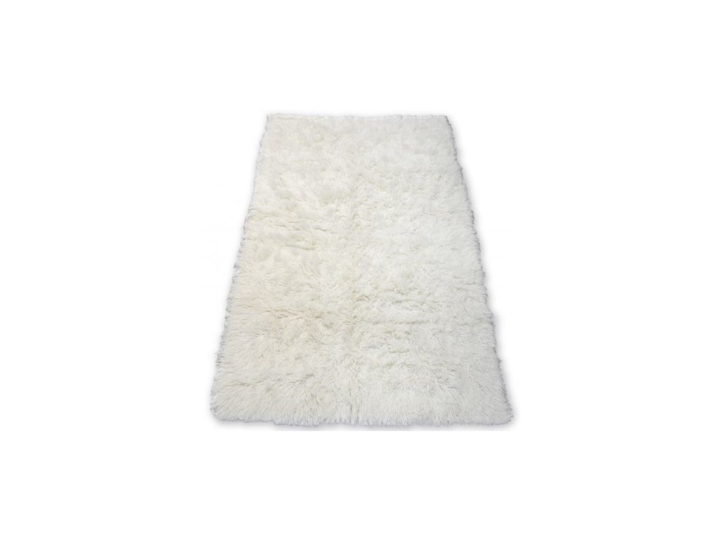 Kusový vlněný koberec FLOKATI bílý / krémový