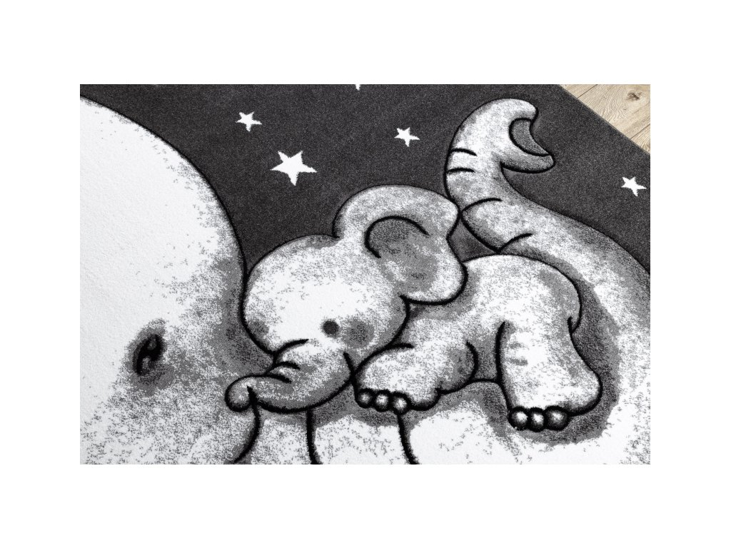 Dětský kusový koberec PETIT Slůňata šedý