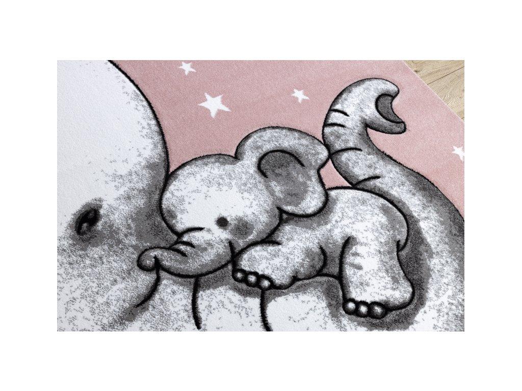 Dětský kusový koberec PETIT Slon růžový