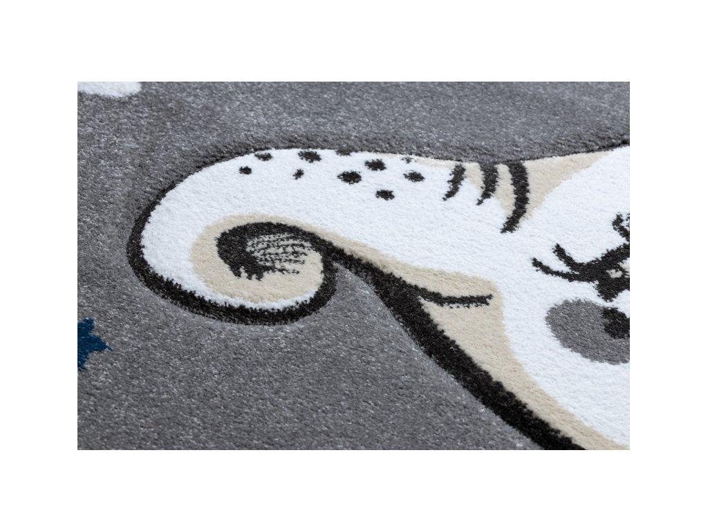 Dětský kulatý koberec PETIT Slůně / hvězdy šedý