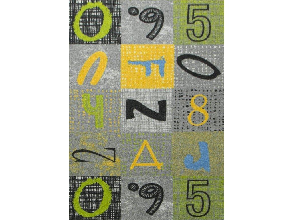 Kusový koberec Blackboard Písmena Číslice šedý