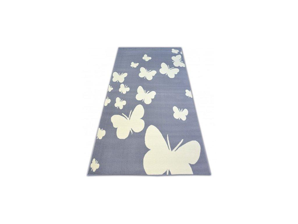 Kusový koberec BCF FLASH 3976 Motýlci šedý