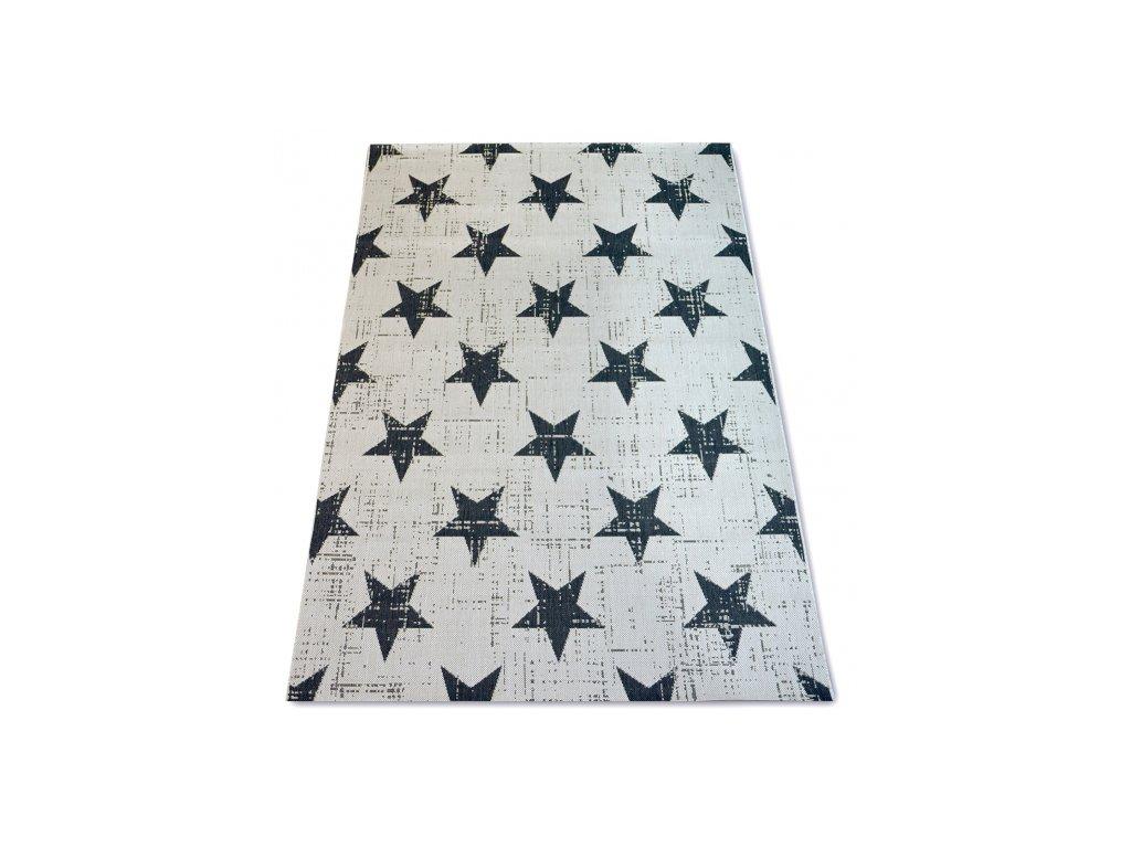 Koberec SISAL FLAT 48648/927 hvězdy krémový