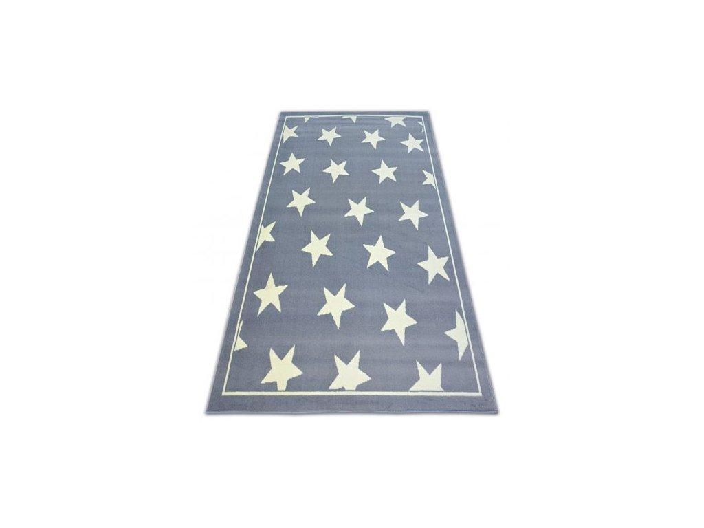 Kusový koberec BCF FLASH STARS 3975 Hvězdy šedý