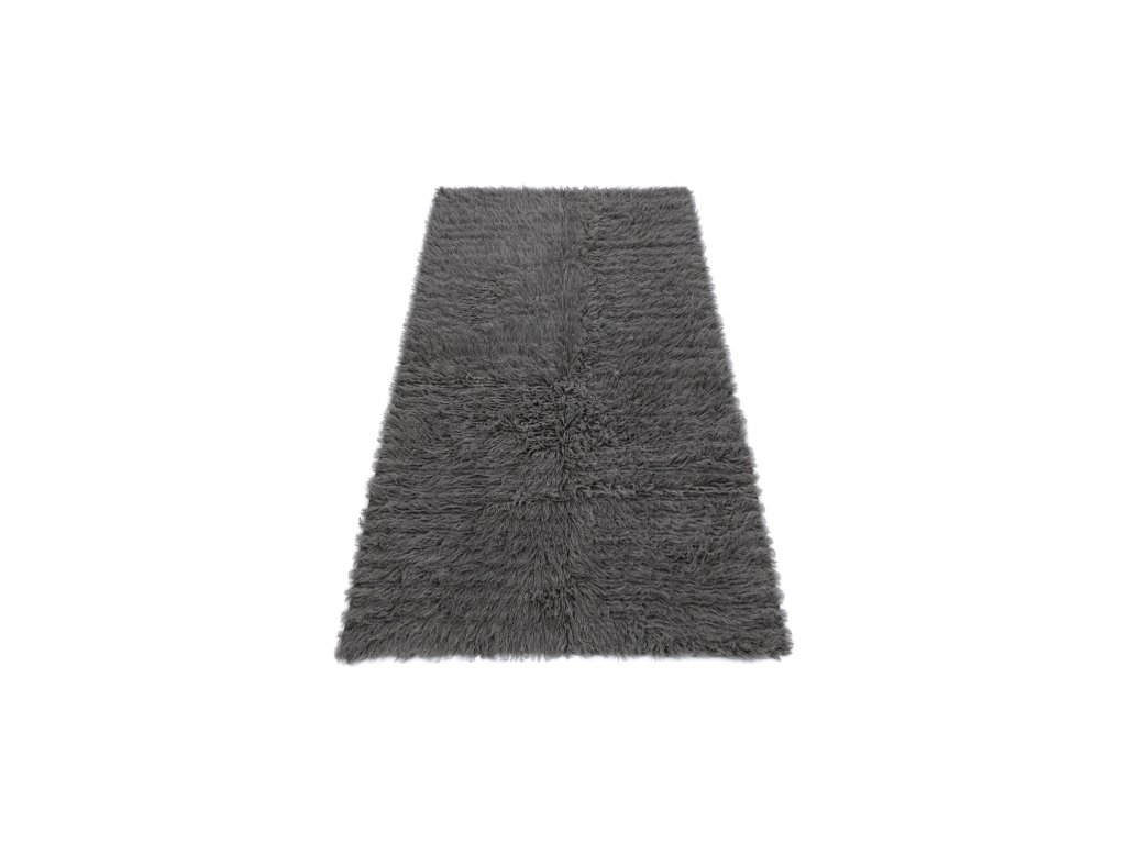Kusový vlněný koberec FLOKATI šedý