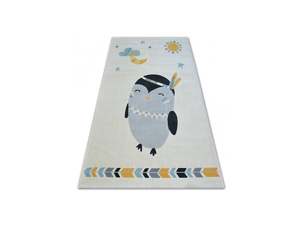 Dětský kusový koberec PASTEL 18401/062 - Tučňáček krémový