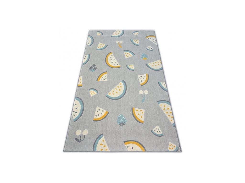 Dětský kusový koberec PASTEL 18407/052 - Ovoce šedý
