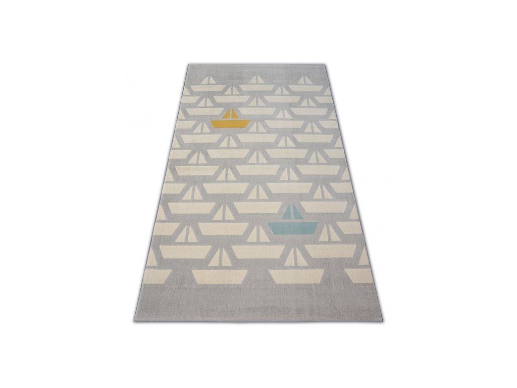 Dětský kusový koberec PASTEL 18411/052 - Lodě šedý