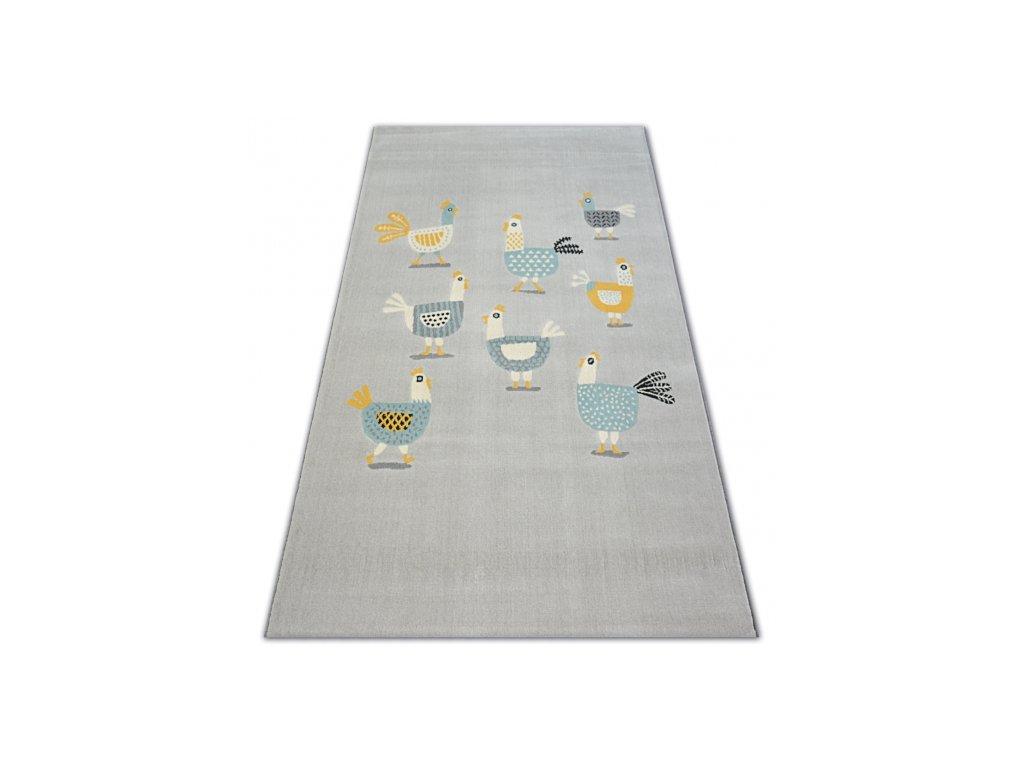 Dětský kusový koberec PASTEL 18413/052 - Slepičky kohout šedý