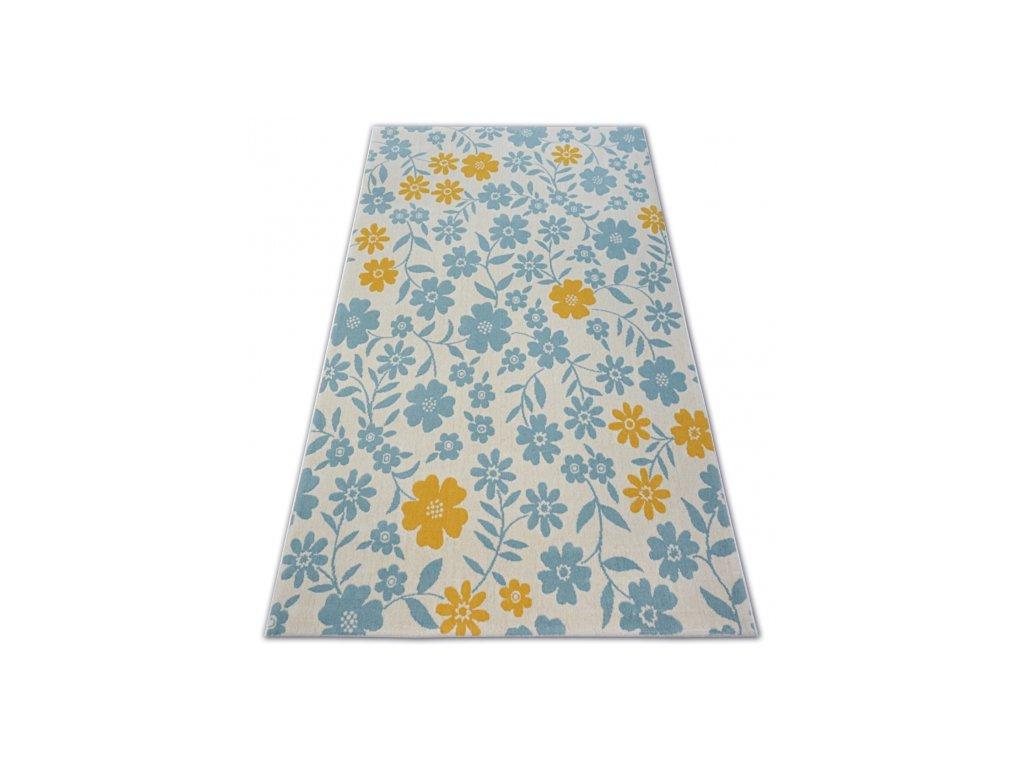 Dětský kusový koberec PASTEL 18414/062 - Květiny krémový tyrkysový
