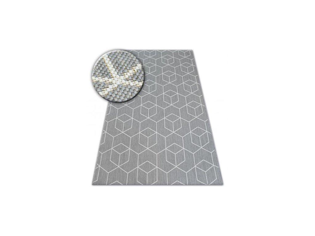 Koberec kusový Sisal FLAT 48655/637 3D šedý
