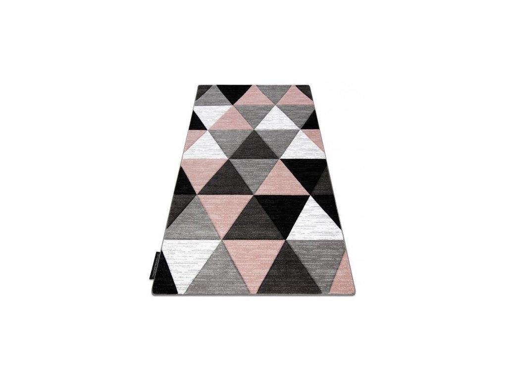 Kusový koberec ALTER Rino Trojúhelníky šedý / růžový