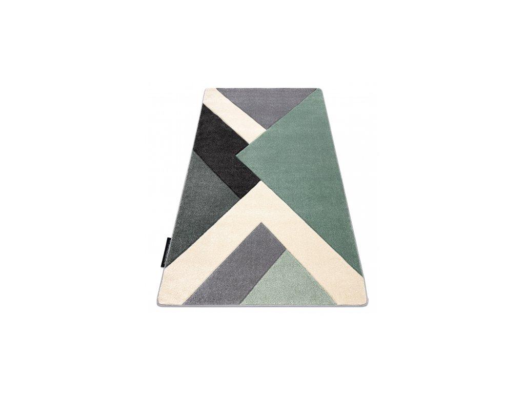 Kusový koberec ALTER trojúhelníky zelený / šedý