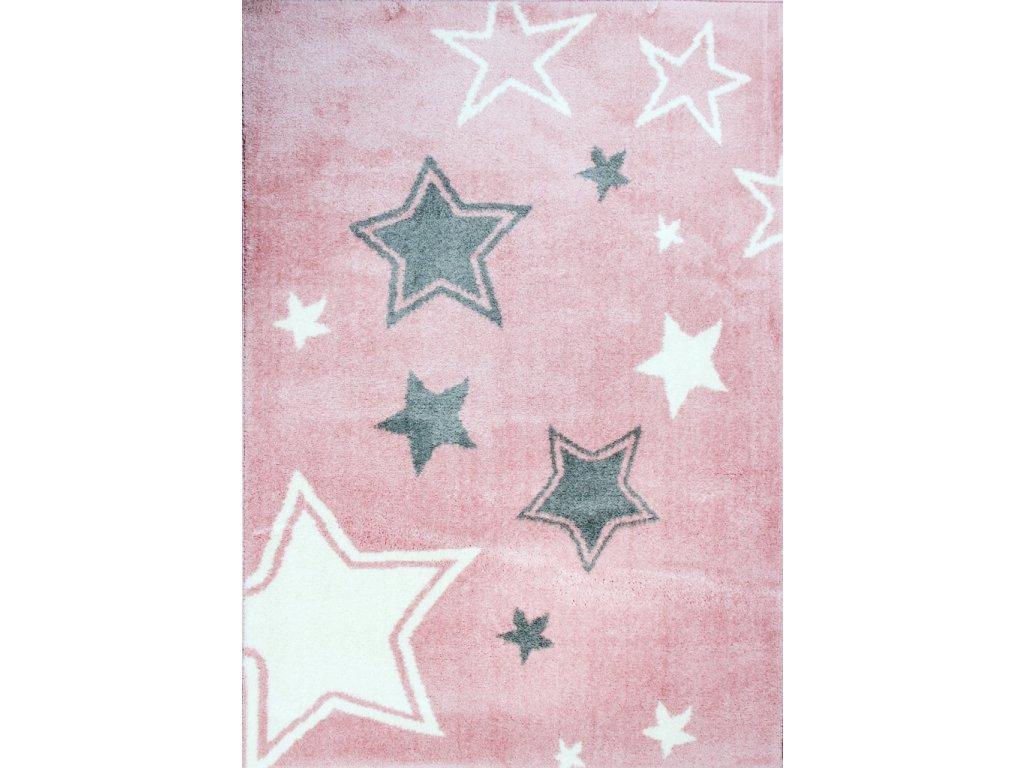 Dětský kusový koberec SLIM 7665 hvězdy růžový