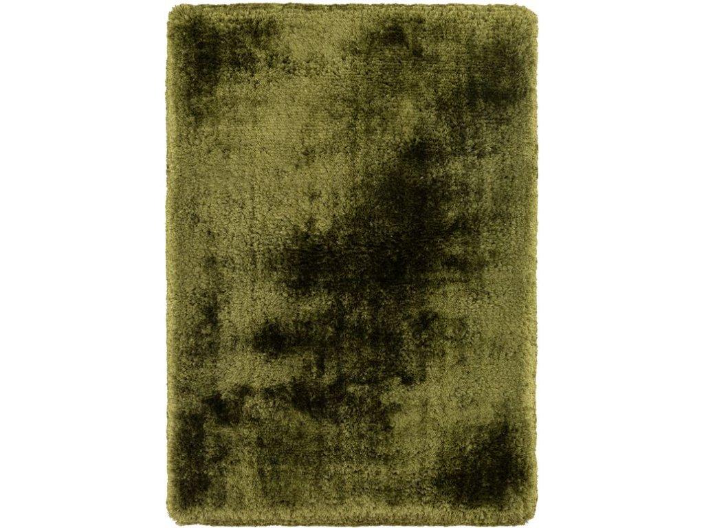 Kusový koberec jednobarevný Shaggy Plush zelený