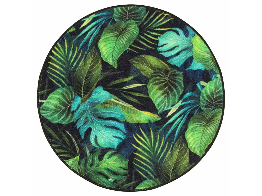 Kulatý koberec Monstera listy palmy zelený