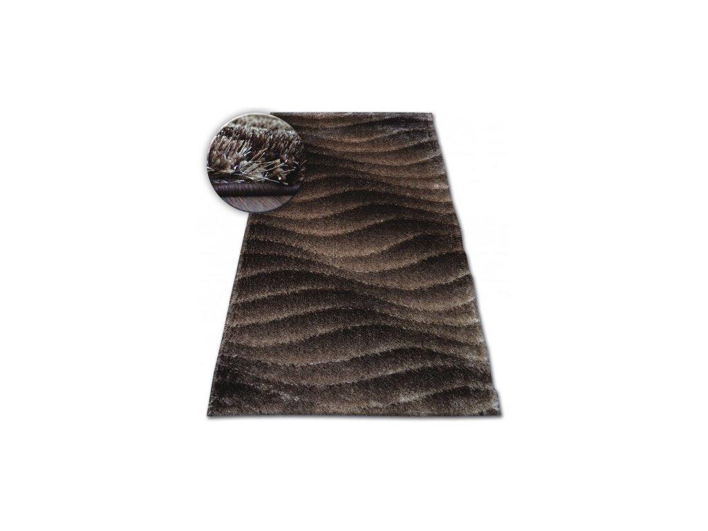Kusový koberec Shaggy SPACE 3D B222 tmavě hnědý
