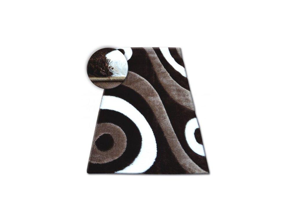 Kusový koberec Shaggy SPACE 3D B314 tmavě hnědý