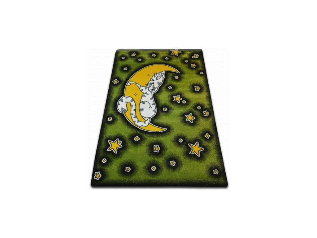 Dětský kusový koberec KIDS C414 Kočka zelený