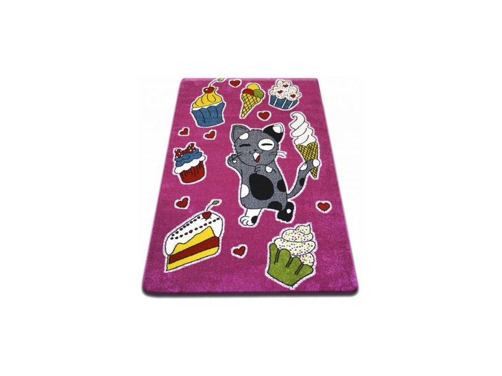 Dětský kusový koberec KIDS C415 Kočička růžový
