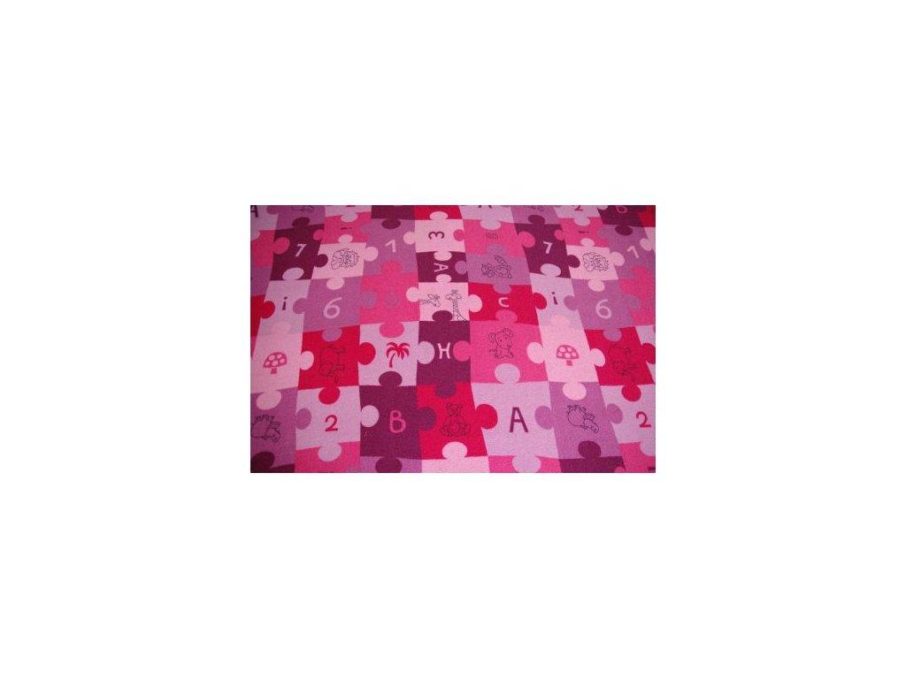 Dětský kusový koberec PUZZLE fialový