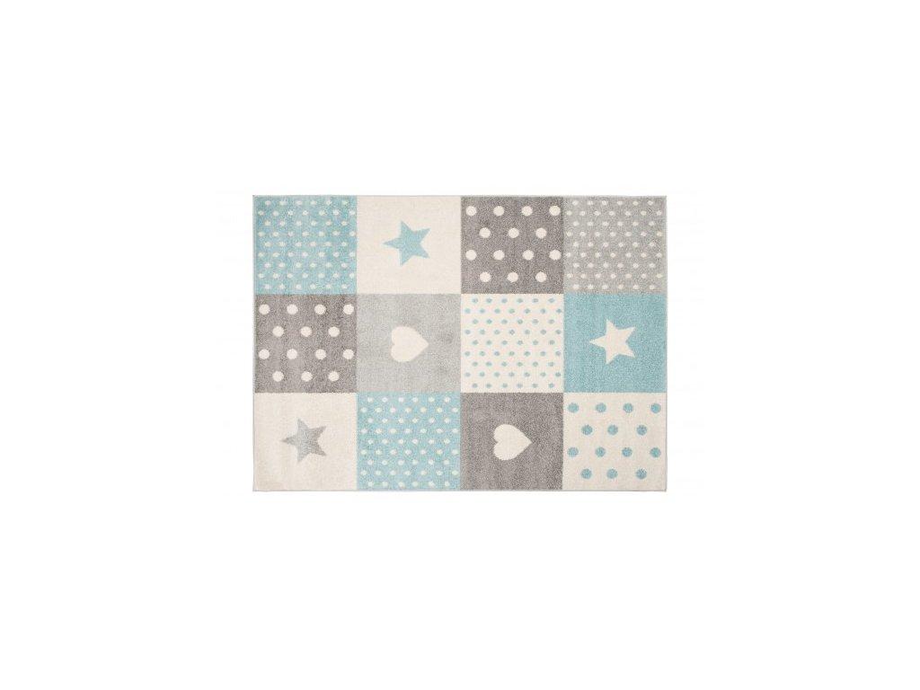 Kusový koberec LAZUR C573A hvězdy srdce bílý / modrý / šedý